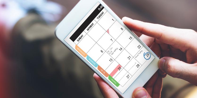 Calendar on mobile phone