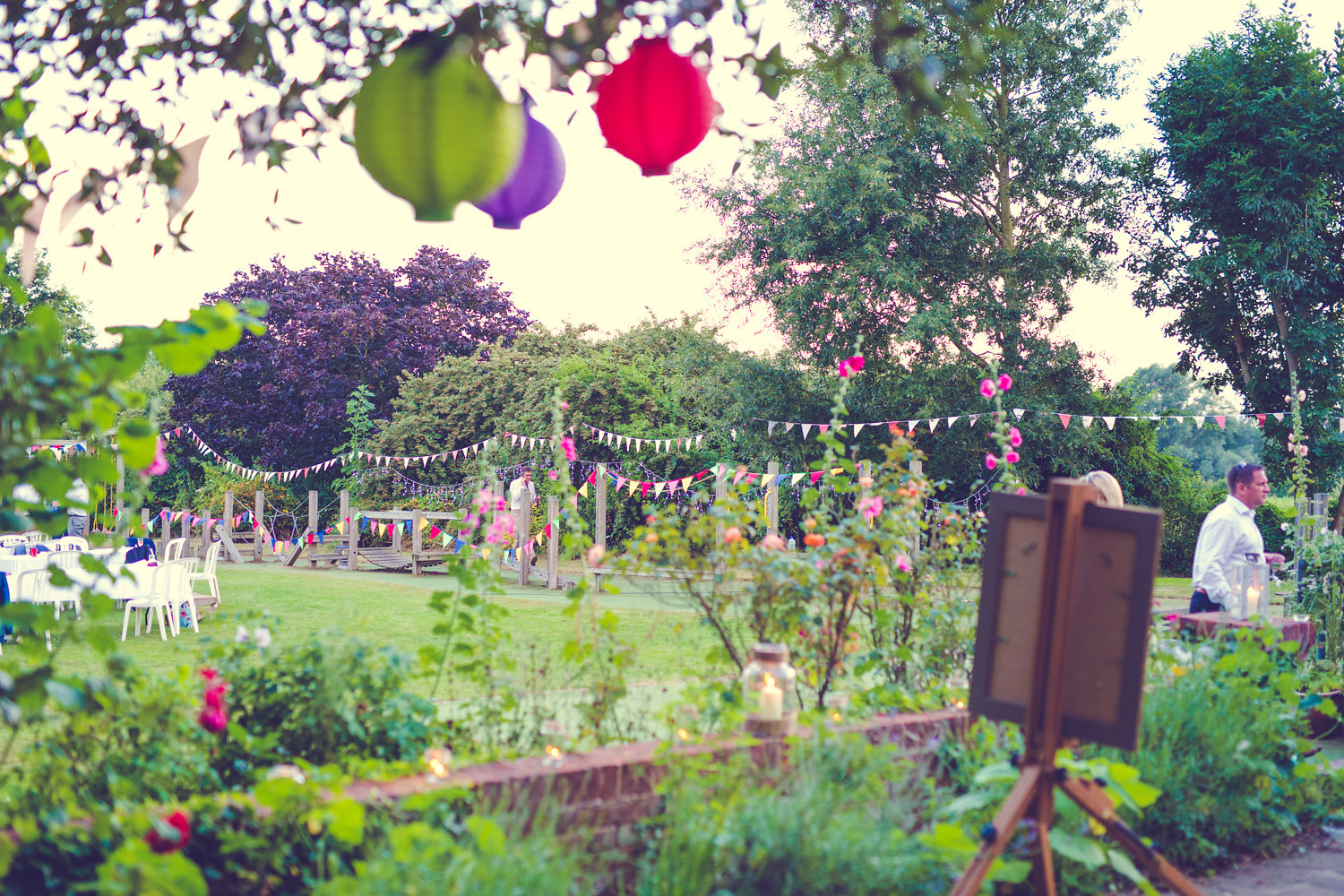 Summer garden with bunting