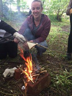Children making a fire