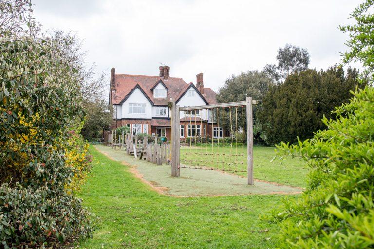 Climbing frame in garden