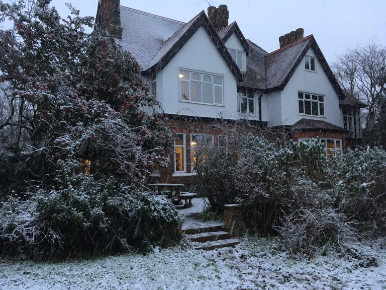 Cardfields house in the snow