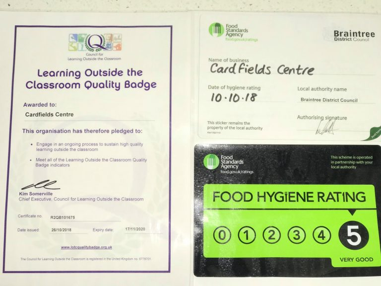 Photo of certificates and food hygiene rating
