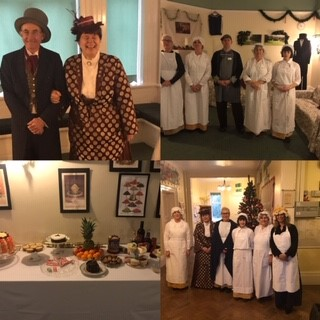 Collage of staff dressed in Victorian clothing