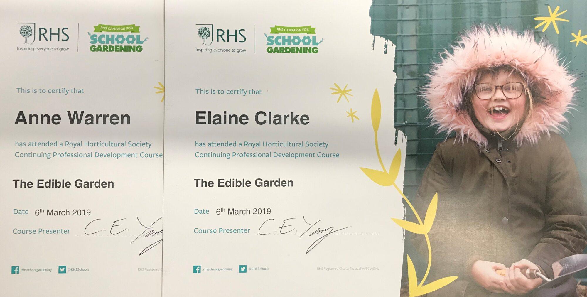 Certificates for the Edible Garden
