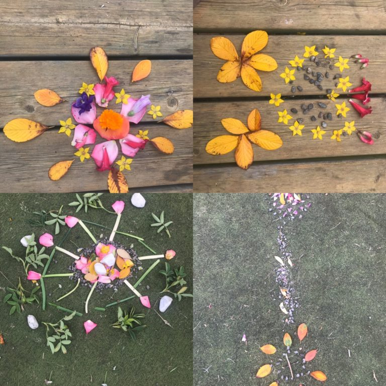 Collage of art work made from nature