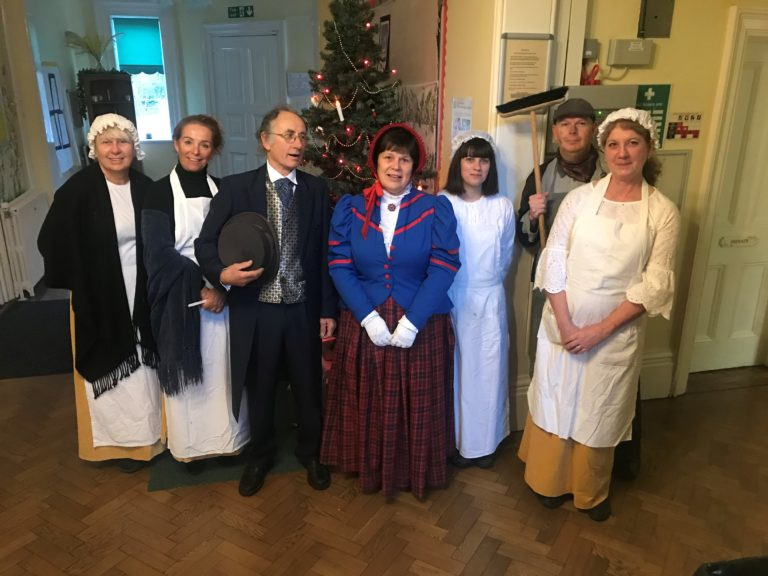 Cardfields staff dressed in Victorian clothing