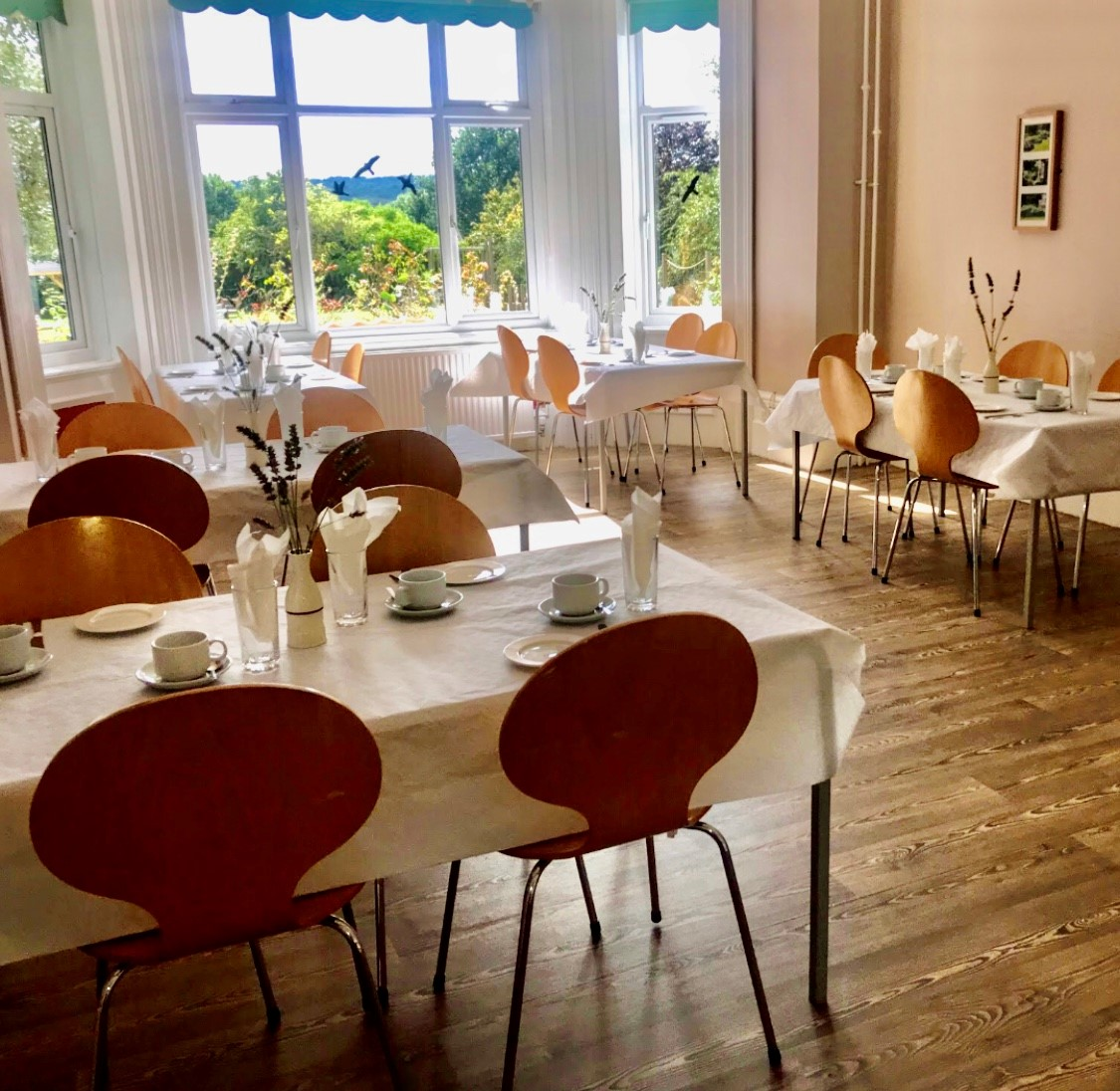 Dining room with tables and chairs set up for afternoon tea